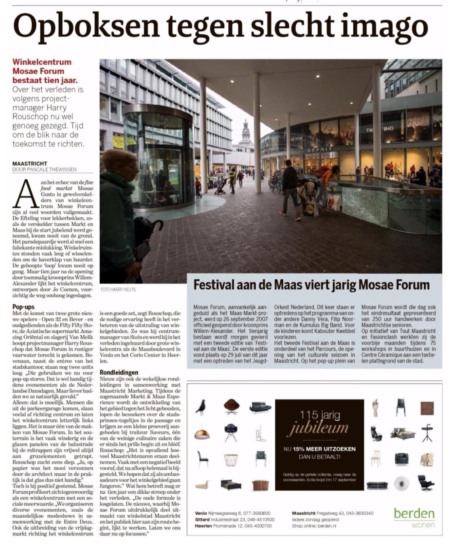 Winkelcentrum Mosae Forum bestaat 10 jaar